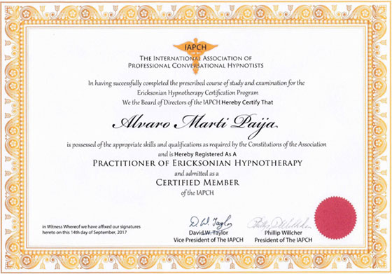 IAPCH - Practitioner of Ricksonian Hypnotherapy