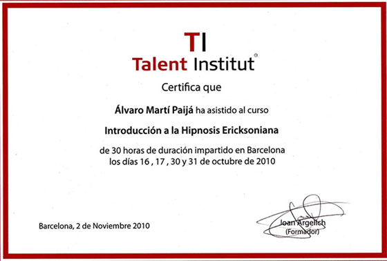 Talent Institut - Introducción a la Hipnosis Ericksoniana