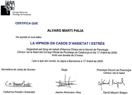 Col legi Oficial de Psicólogos de Catalunya - La hipnosi en casos d'ansietat i estrès