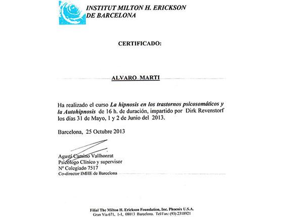 Institut Milton H. Erickson de Barcelona - La hipnosis en los trastornos psicosomáticos y la Autohipnosis