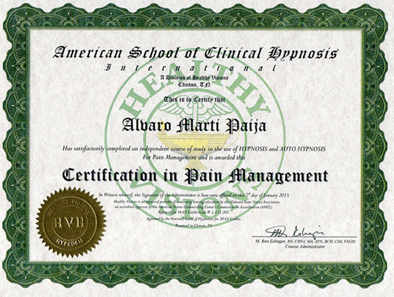 American School of Clinical Hypnosis - Certification in Pain Management
